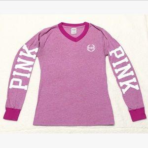 VS PINK V Neck Long Sleeve Tee Embroidered Logo